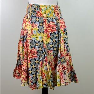 🌸Ivy Jane XS vibrant floral tiered floral skirt